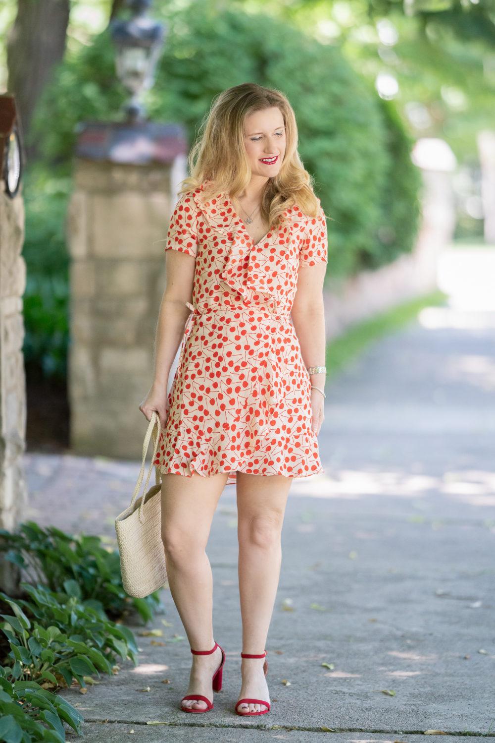 Petite Fashion Blog | Beach Riot Cherry Dress | Topshop Fruity Cherry Straw Tote Bag | Stuart Weitzman sandals