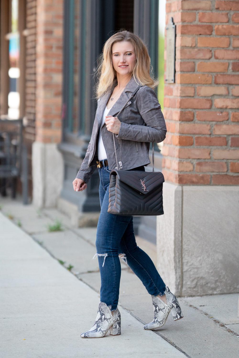 Petite Fashion Blog | Blank NYC Suede Moto Jacket | Steve Madden Rockstar Bootie | Hermes Belt | YSL Lou Lou Bag