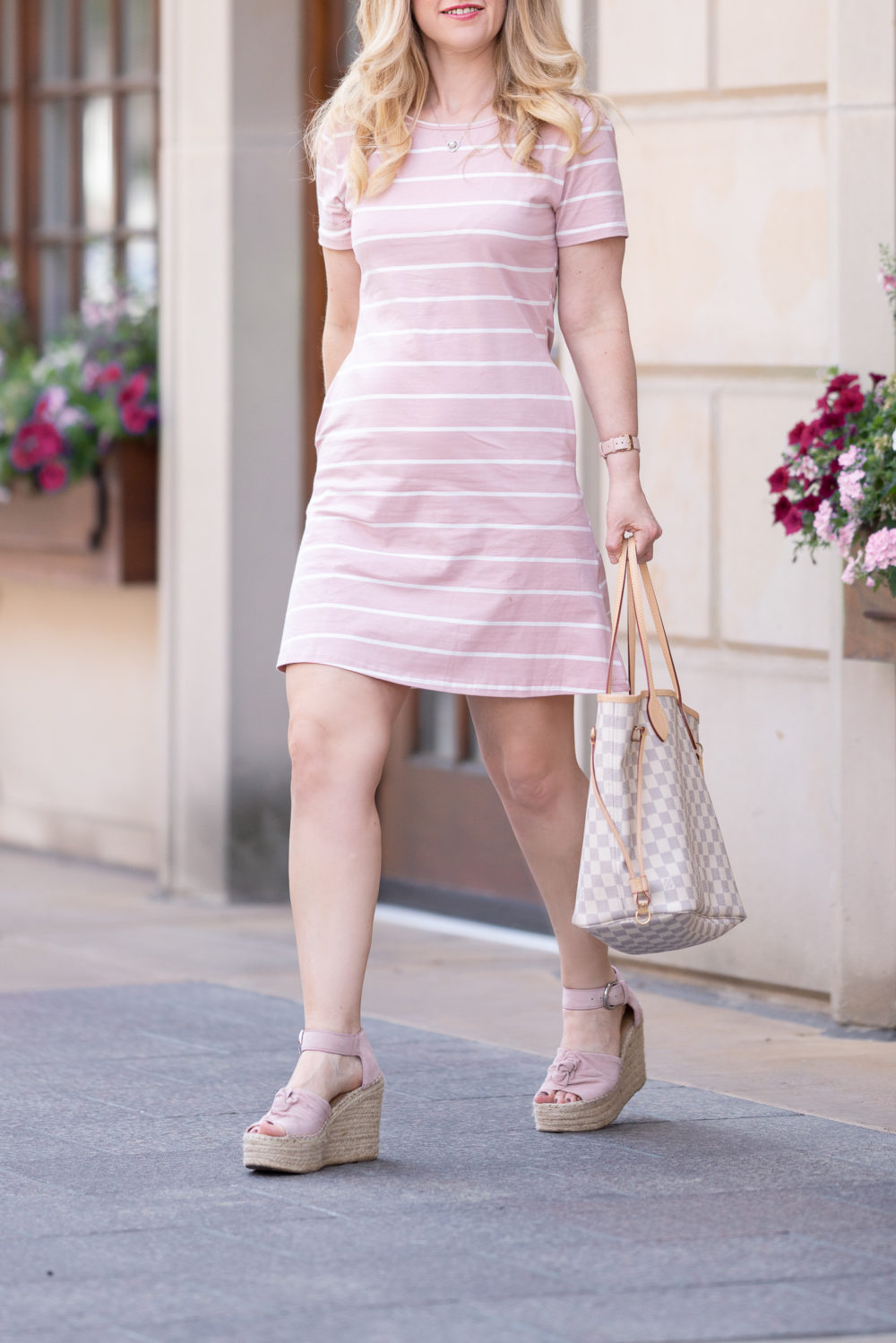 Petite Fashion Blog | Feager Women's Casual Striped Criss Cross Short Sleeve T Shirt Mini Dress
