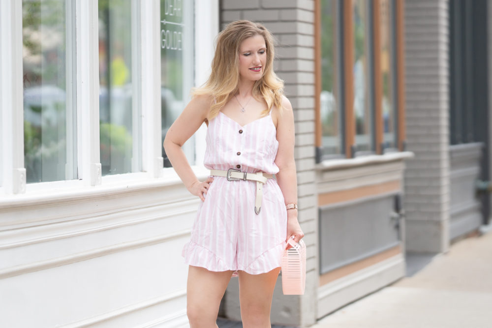 Petite Fashion Blog | Floerns Striped Button Front Romper