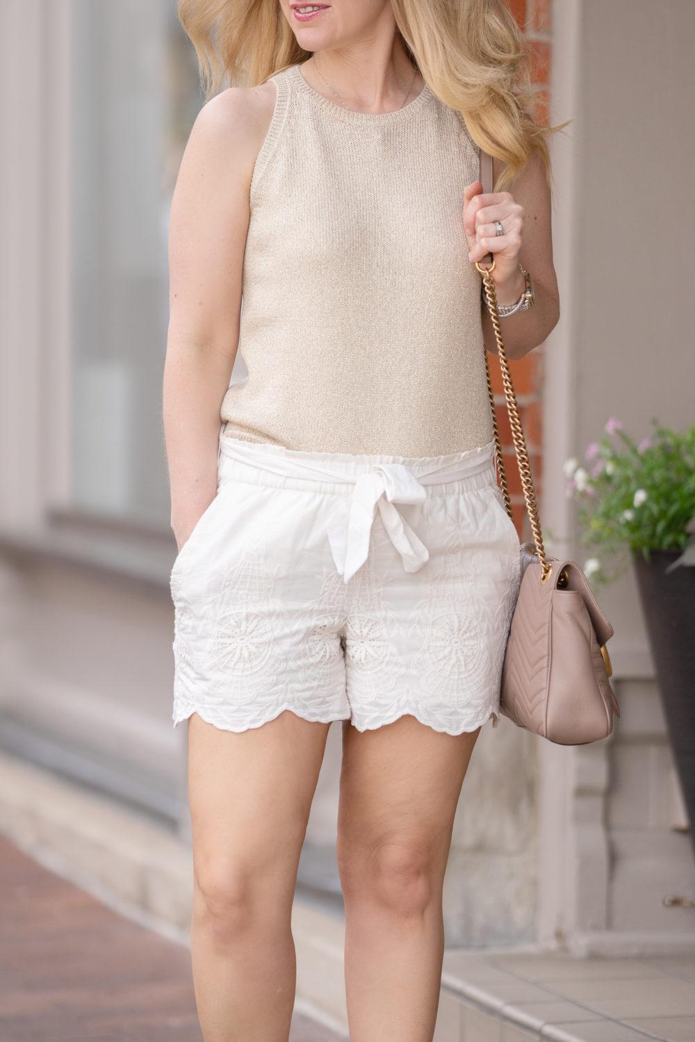 Petite Fashion Blog | Loft Crochet Tie Waist Shorts | Loft Shimmer Sweater Tank | Gucci Marmont Shoulder Bag | Loft Sale