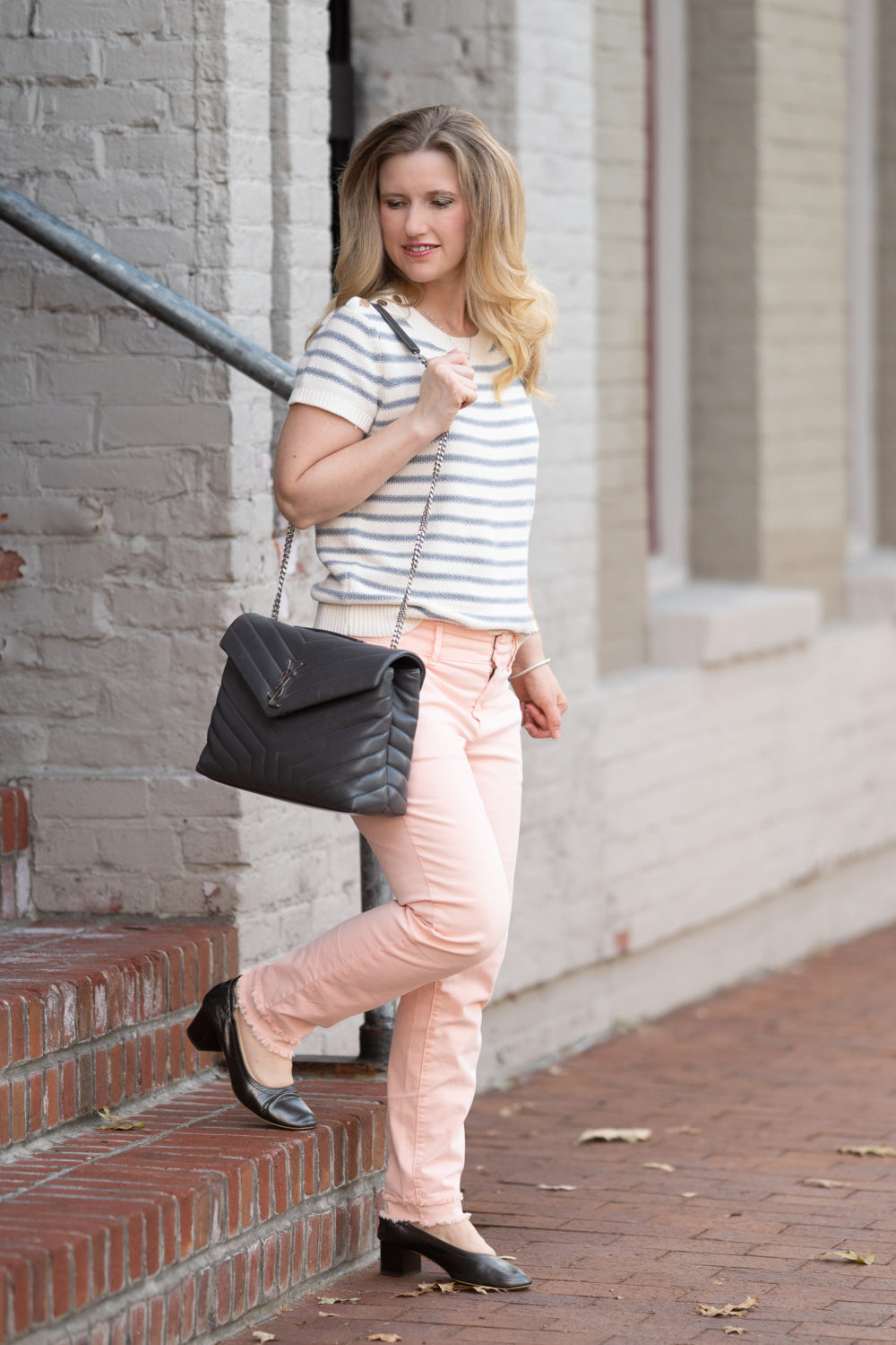 Petite Fashion Blog | Loft Double Fray Girlfriend Chinos | Loft Striped Sweater | Everlane Day Heels | Loft Sale