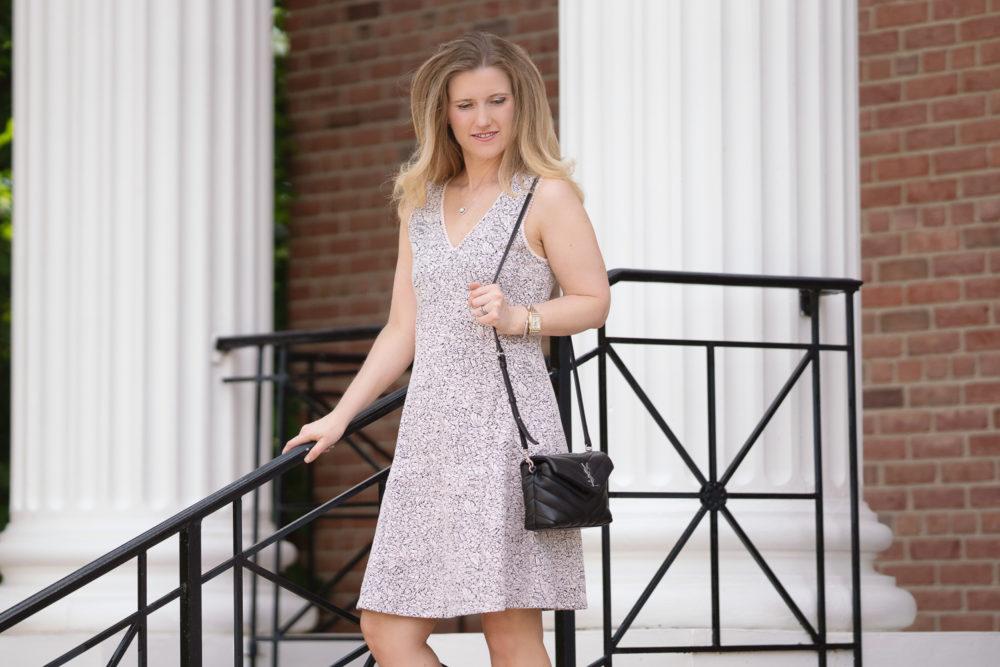 Petite Fashion Blog | Loft Rose Jacquard Flare Dress | Loft Sale