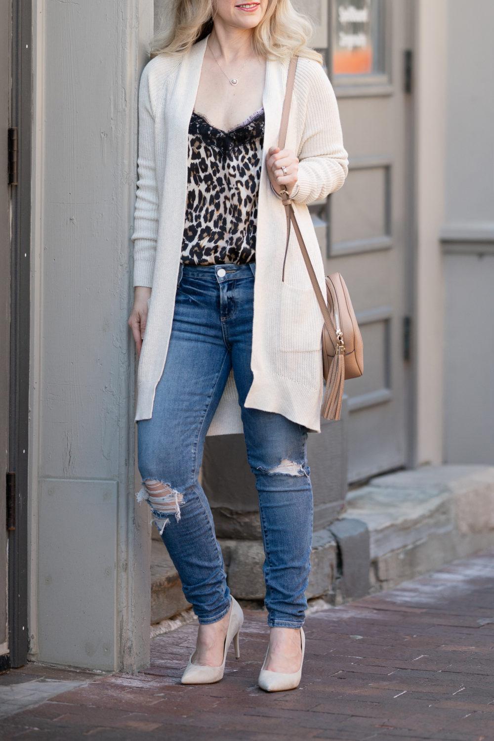 Petite Fashion Blog | Nordstrom Anniversary Sale | BP. Longline Open Cardigan | Paige Verdugo Ripped Crop Skinny Jeans | BP Lace Trim Satin Camisole Top