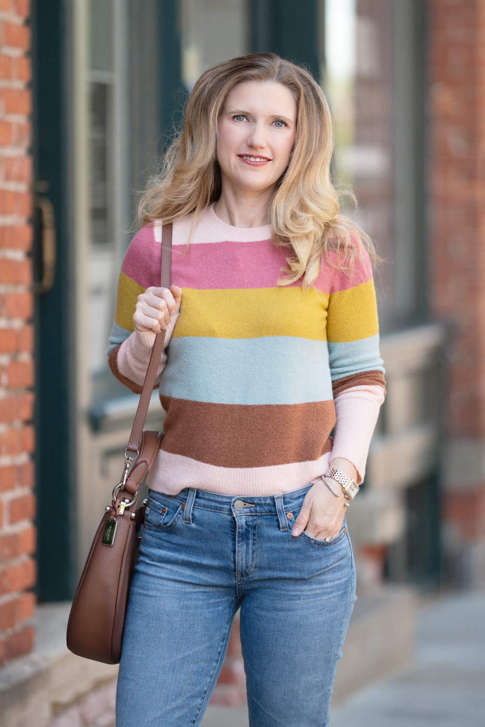 Petite Fashion Blog | Nordstrom Anniversary Sale | Halogen Crewneck Sweater | AG Prima Ankle Cigarette Jeans COACH Nomad Burnished Leather Crossbody Bag