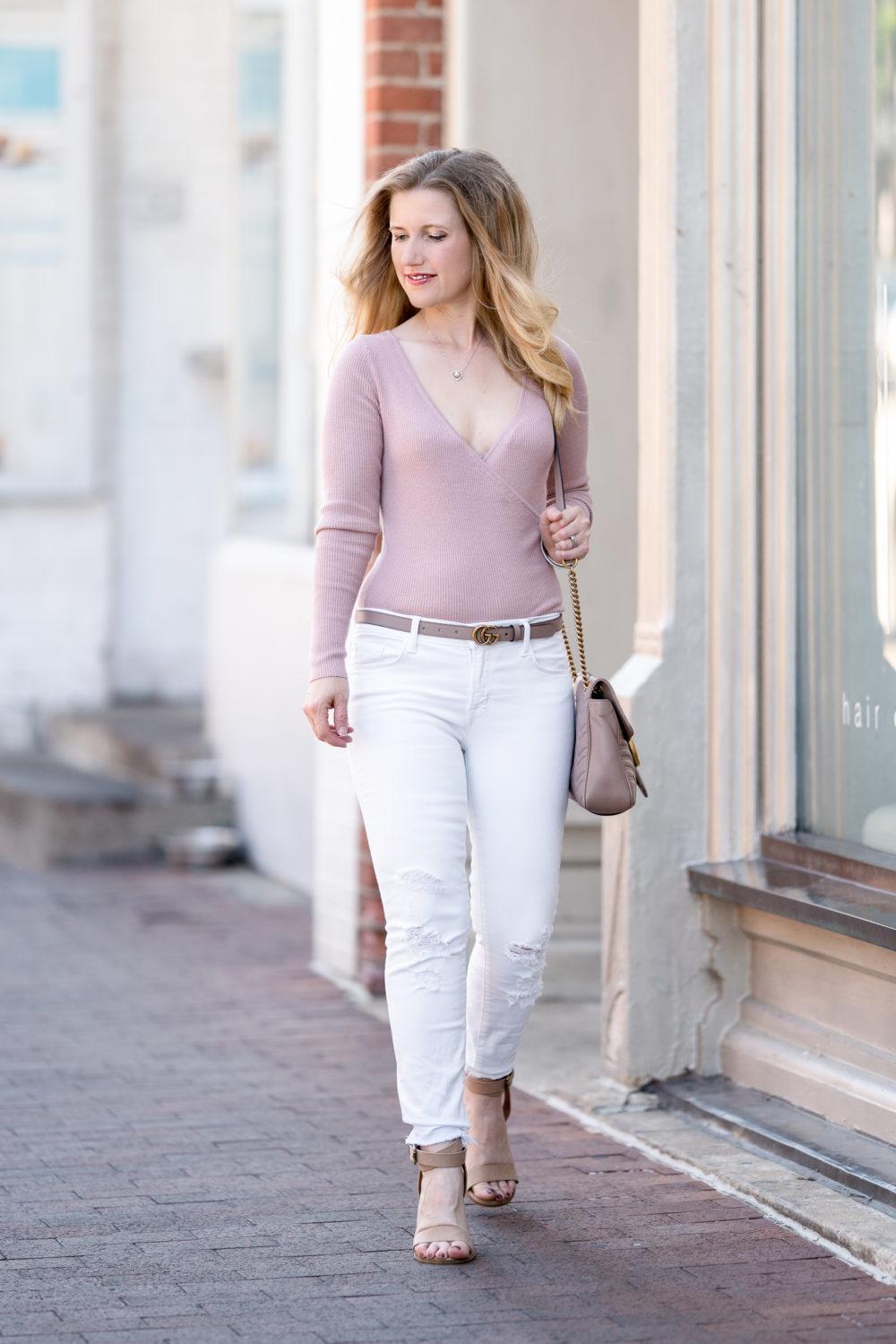 Petite Fashion Blog | Nordstrom Anniversary Sale | Leith Wrap Sweater | J Brand Crop Skinny Jeans | Gucci Belt | Gucci Marmont Shoulder Bag