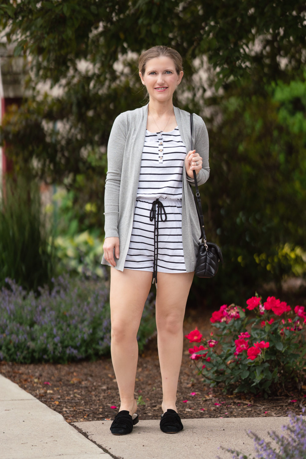 Petite Fashion Blog | Yibock Sleeveless Button Down Romper with Lark & Ro Lightweight Cardigan