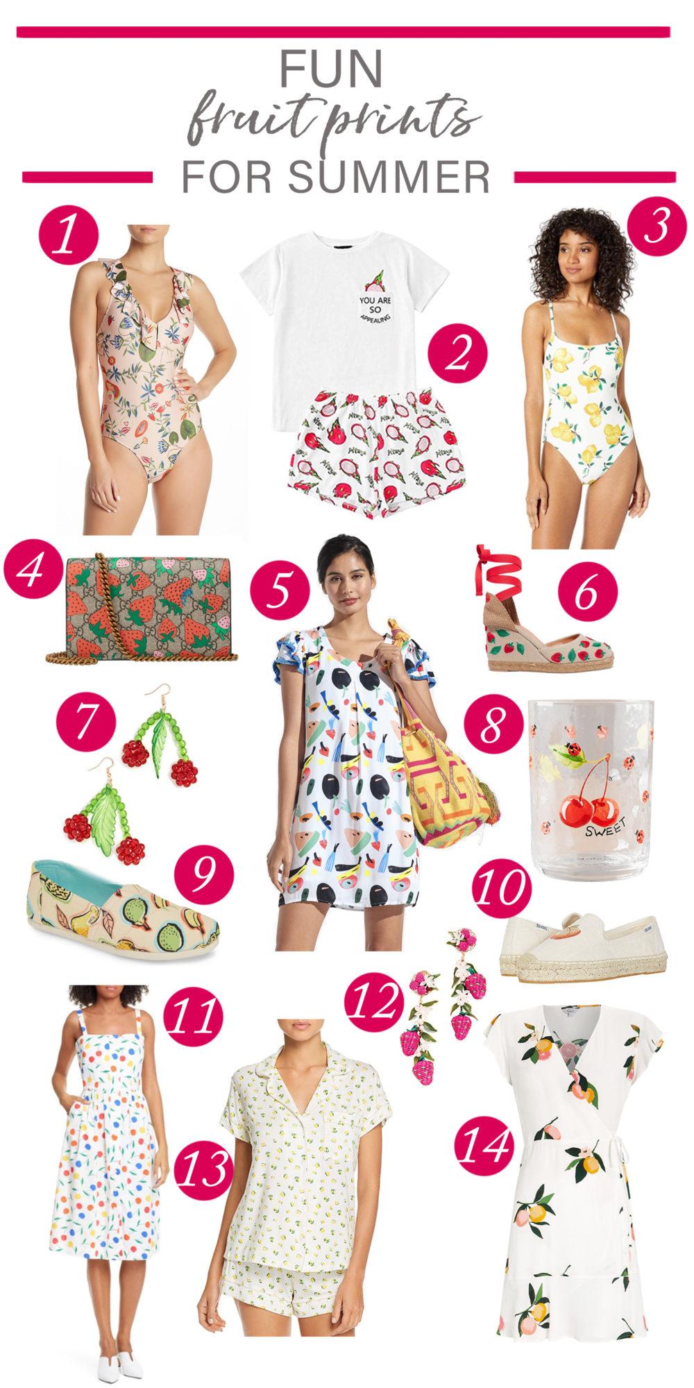 Fruit dresses | Fruit earrings | summer dresses