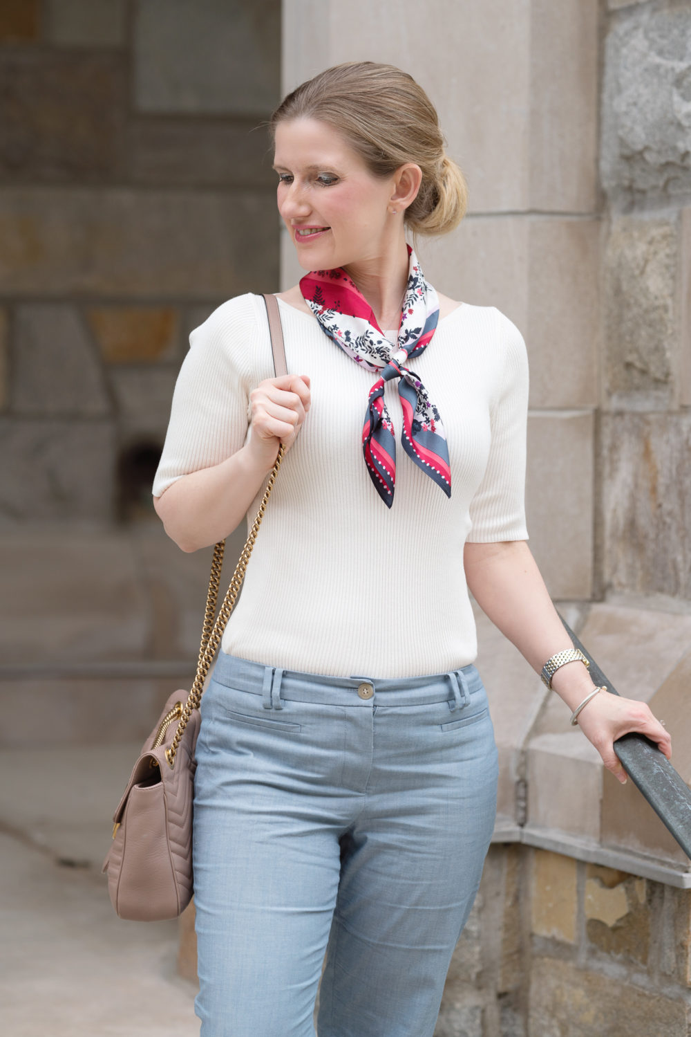 Petite Fashion Blog | Ann Taylor Cotton Crop Pant in Chambray Ann Taylor Scarf | Ann Taylor Sale