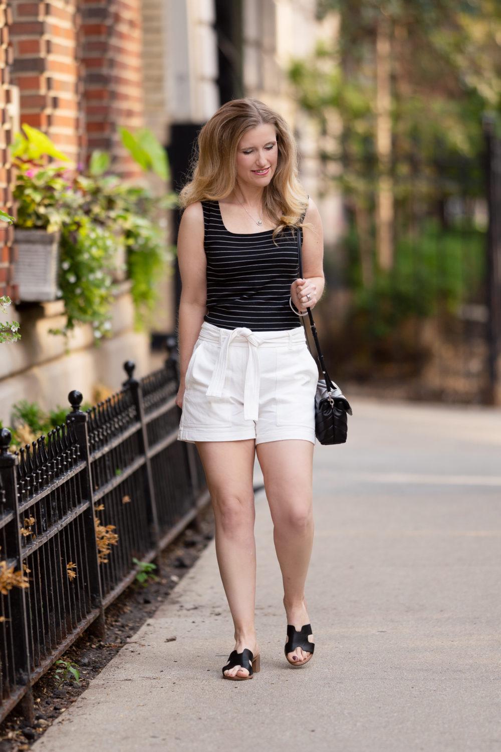 Petite Fashion Blog | Ann Taylor Marina Tie Waist Shorts | Ann Taylor Sale