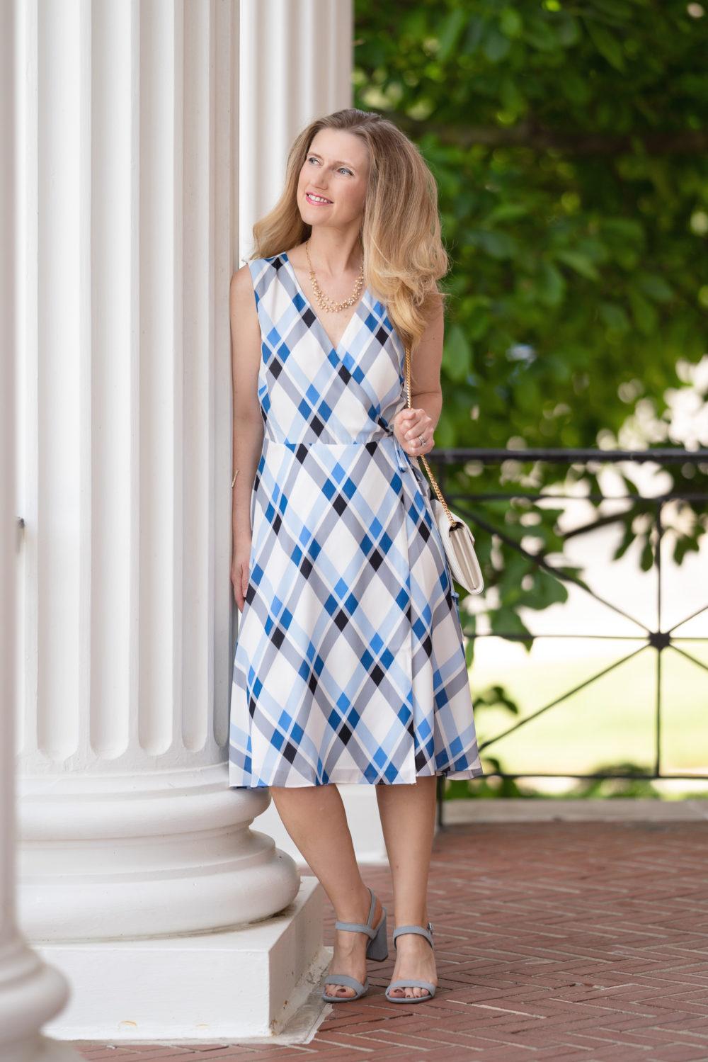 Petite Fashion Blog   Ann Taylor Plaid Wrap Dress   Ann Taylor Sale