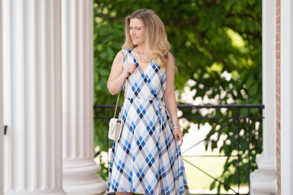 Petite Fashion Blog | Ann Taylor Plaid Wrap Dress | Ann Taylor Sale