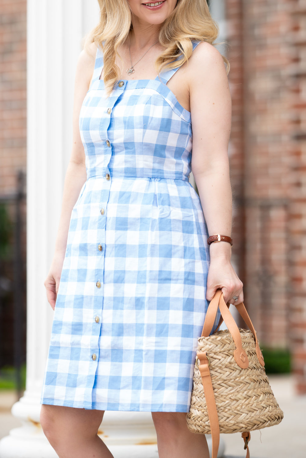 Petite Fashion Blog | J. Crew Factory Button-front dress in linen-cotton | Universal Thread Straw Bucket Bag | Daniel Wellington Watch