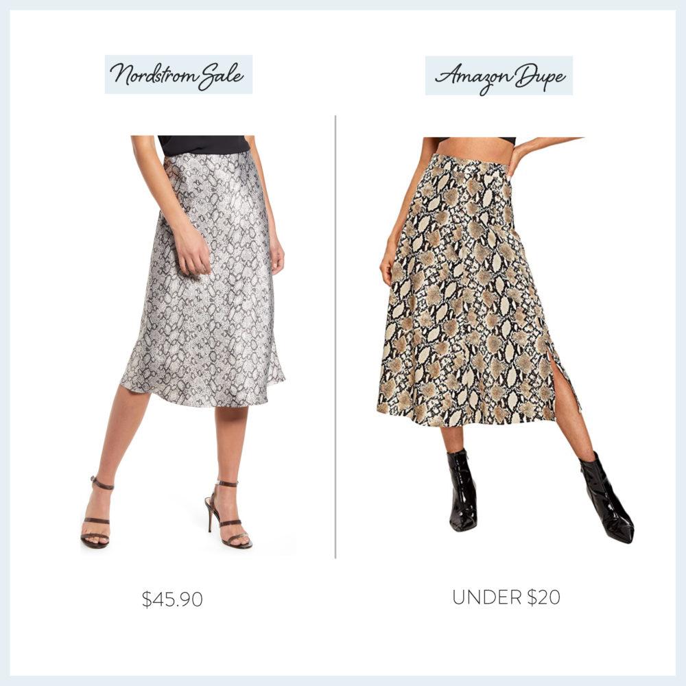 Nordstrom Anniversary Sale 2019 Amazon Dupe Guide | Snakeskin Skirt