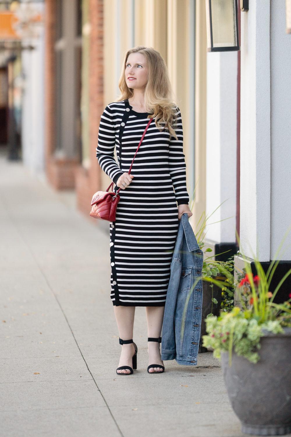 Petite Fashion Blog | Madewell Oversized Denim Jacket | Altuzarra Sweater Dress | YSL Toy Lou Lou Bag