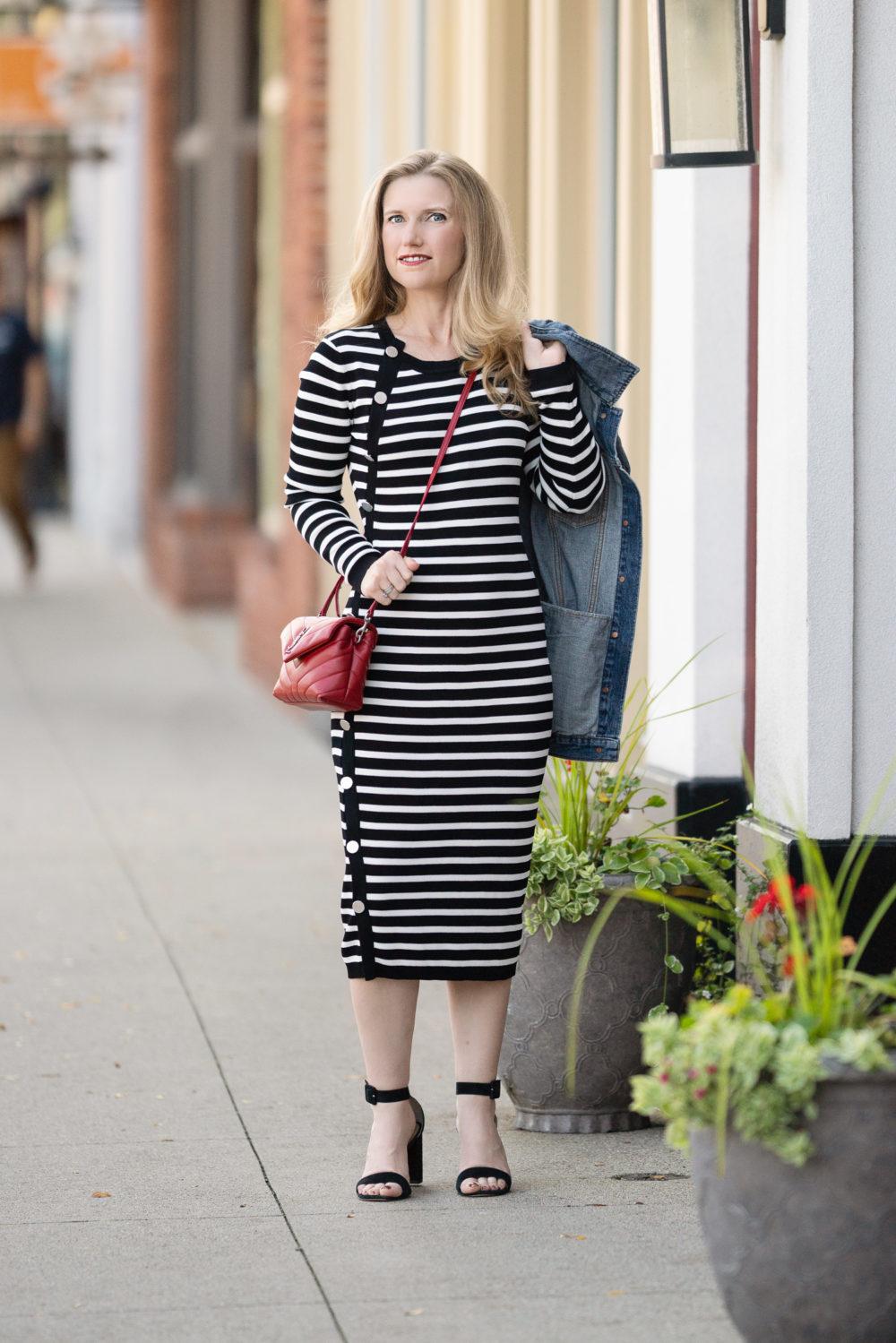 Petite Fashion Blog | Madewell Oversized Denim Jacket | Altuzarra Sweater Dress | YSL Toy Lou Lou Shoes
