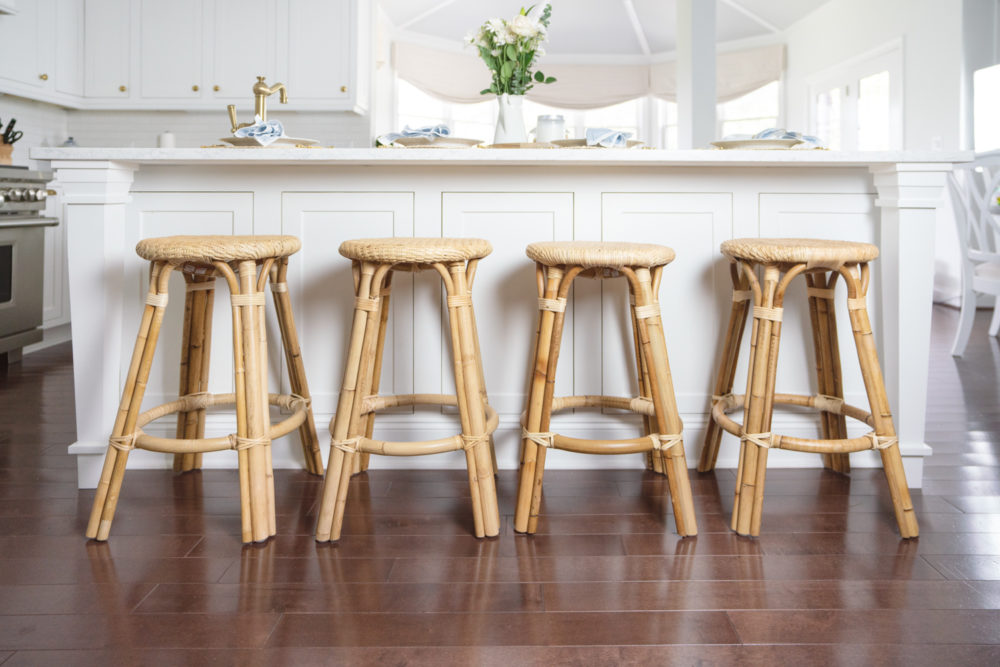 Petite Fashion Blog | Serena and Lily Riviera Counter Stools | White Kitchen | Shaker Cabinets