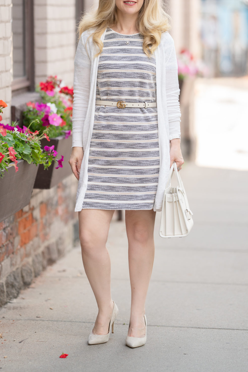 Petite Fashion Blog |Textured Stripe Knit Shift Dress | Gucci Belt | YSL Baby Sac du Jour