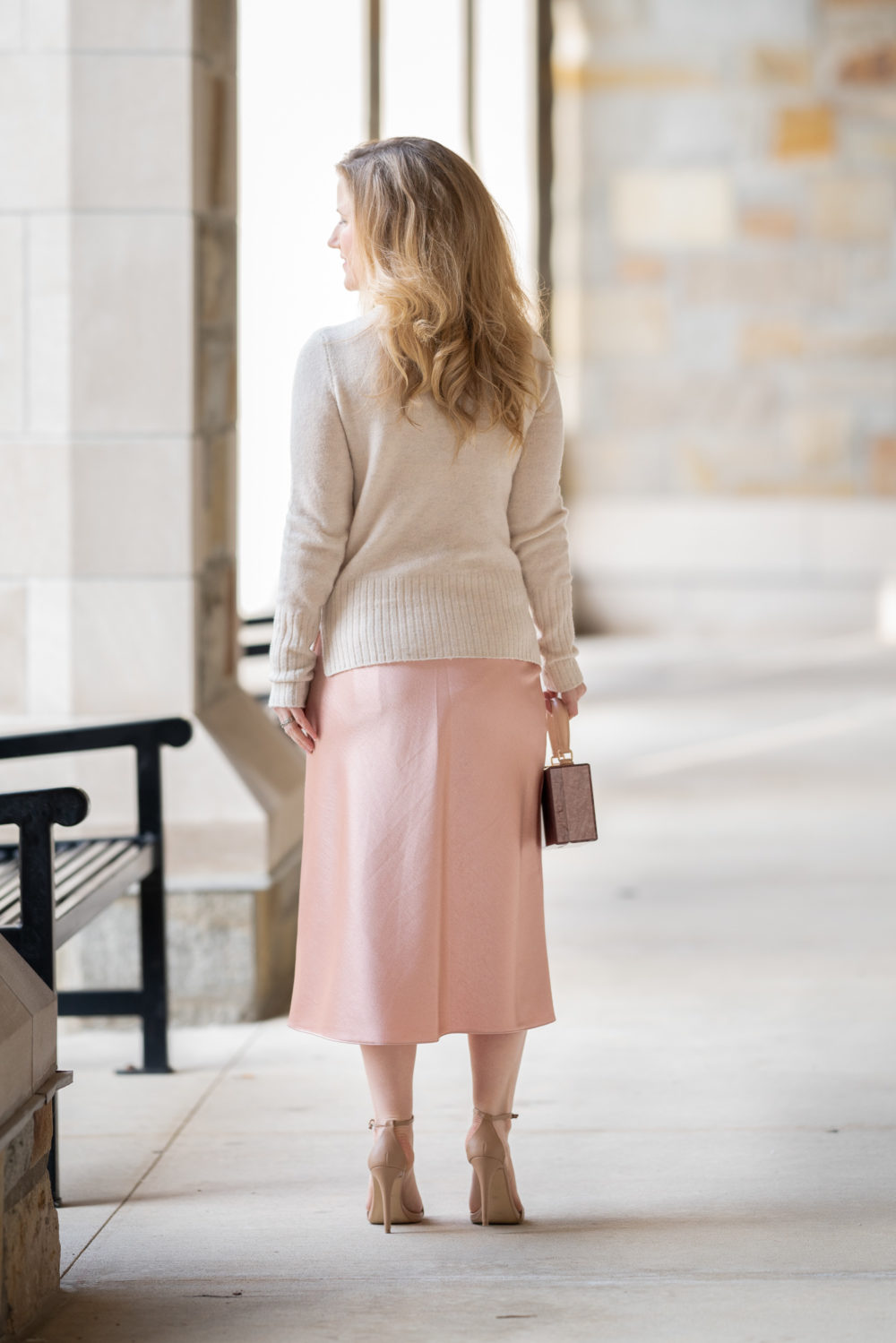Petite Fashion Blog | Vince Bias Cut Satin Midi Skirt | Madewell-INLAND TURTLENECK SWEATER | Silk Midi Skirts | Satin Midi Skirts