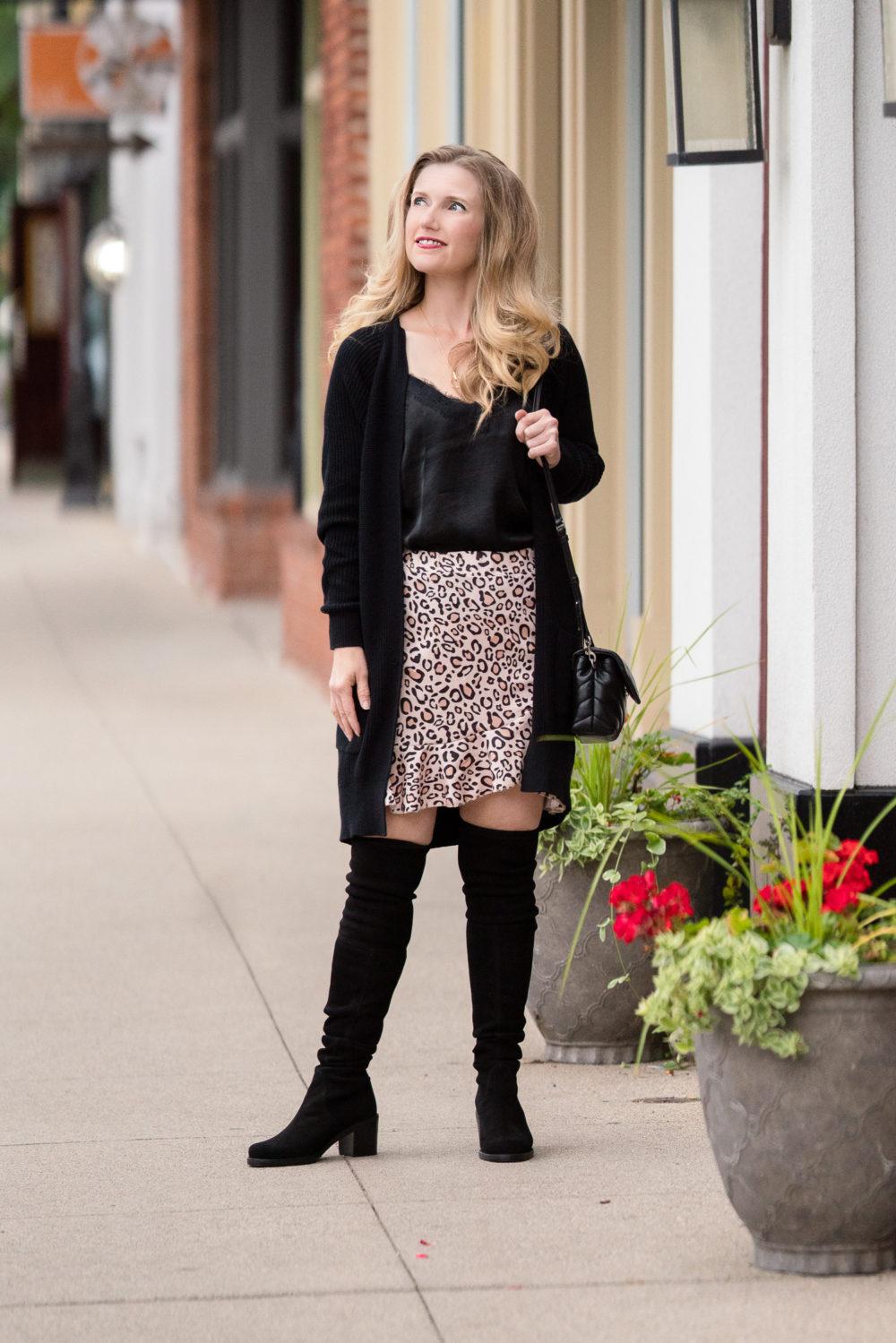 Petite Fashion Blog | Women's Leopard Asymmetrical Ruffles High Waist Mini Skirt