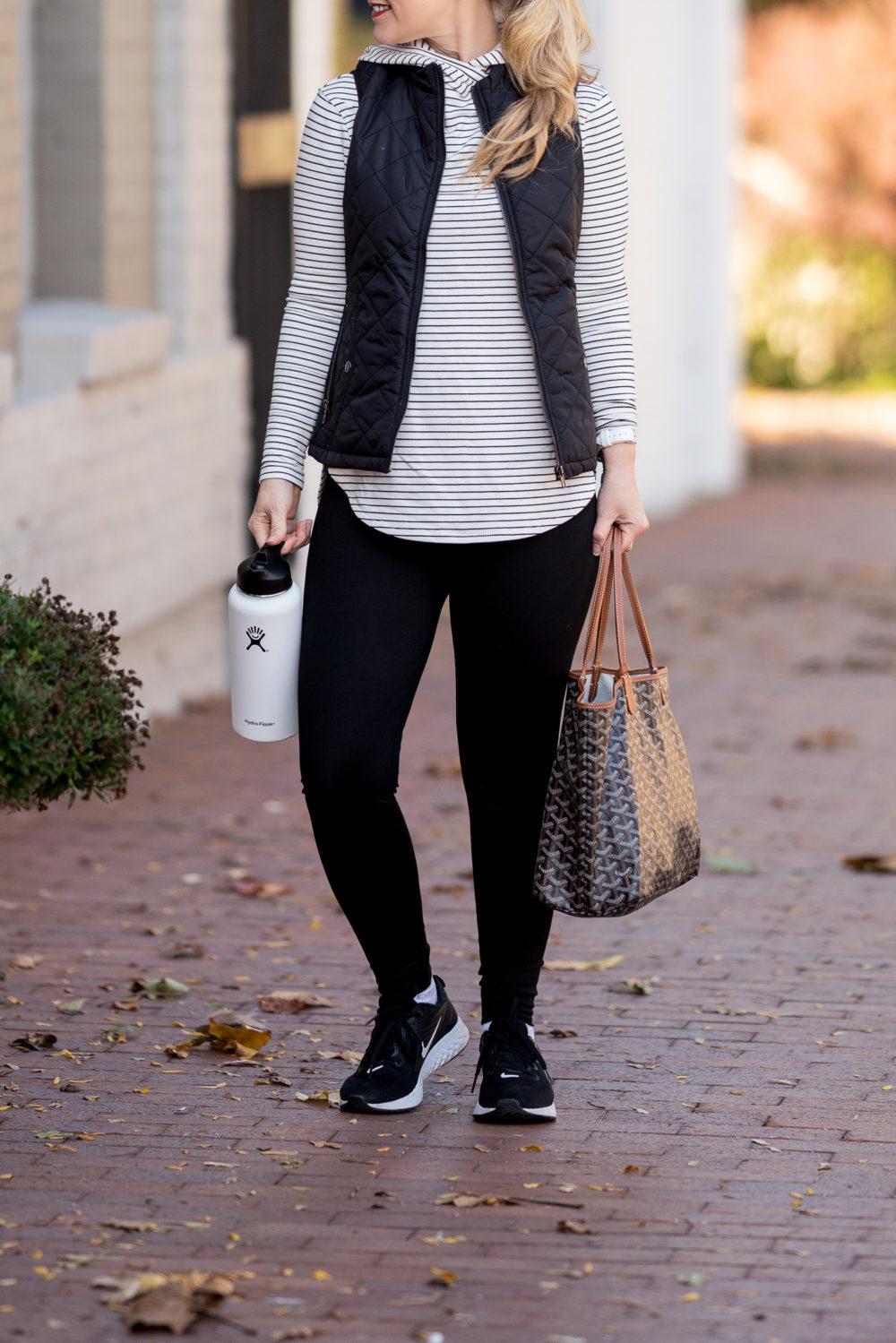 Petite Fashion Blog | Amazon Core 10 Leggings | Amazon Essentials Stripe Pullover | Amazon Women's Leggings | Puffer Vest