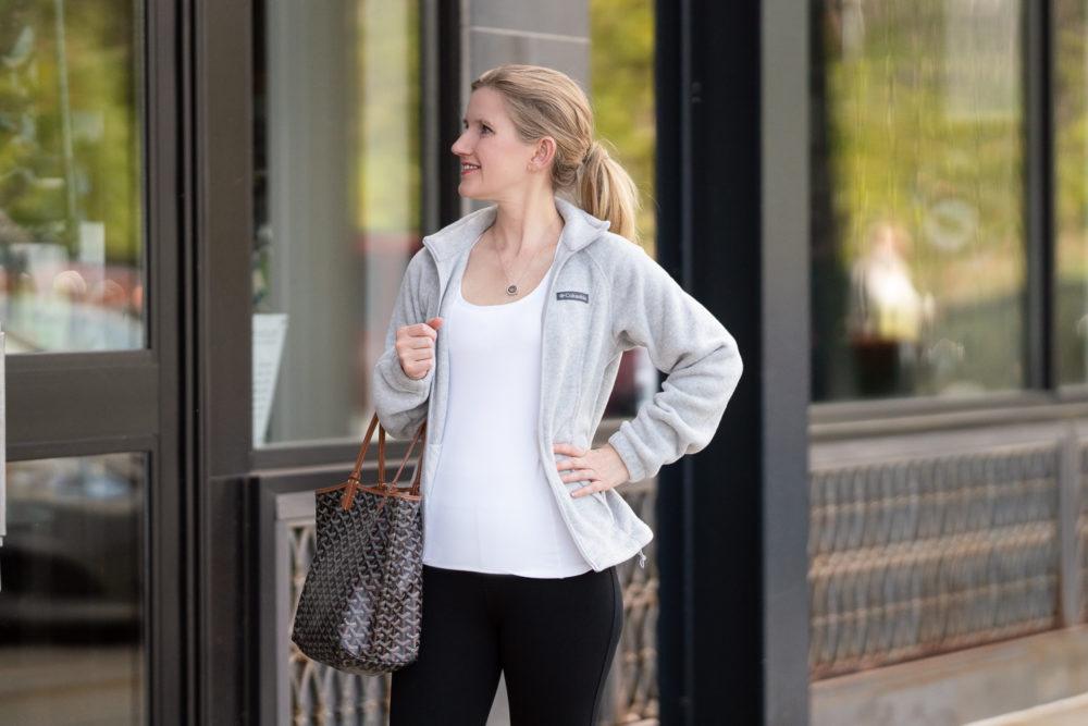 Petite Fashion Blog | Columbia Fleece Jacket | Isotoner Zenz | Goyard Tote