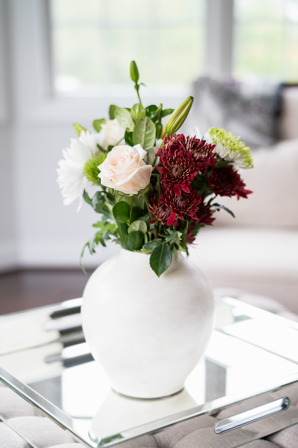 Petite Fashion Blog | Fall Home Decor | Trader Joe's Flowers