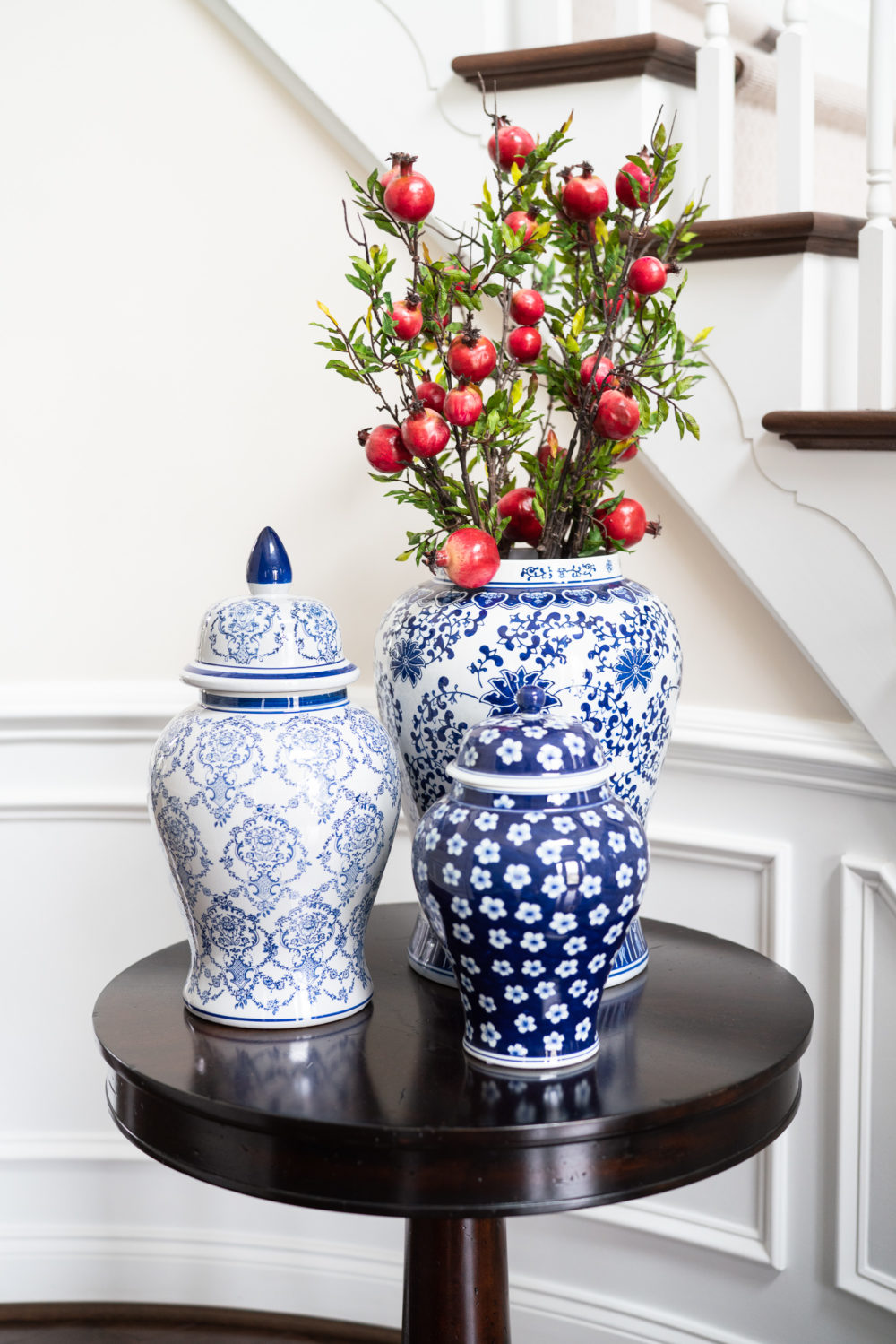 Petite Fashion Blog | Fall Home Decor Inspiration | Blue Ginger Jars | Faux Pomegranate