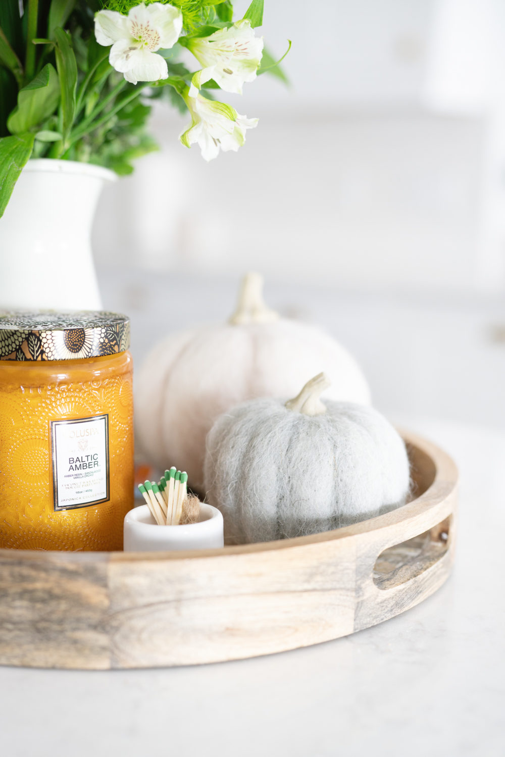 Petite Fashion Blog | Fall Home Decor Inspiration | Felt Pumpkins | Terrain Pumpkins | Voluspa Candle