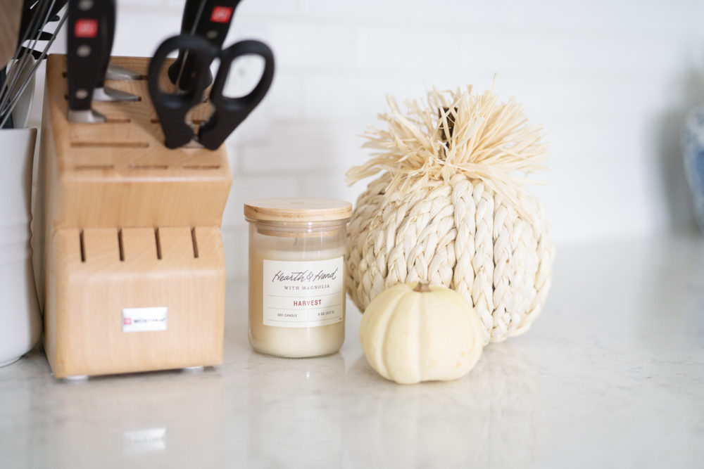 Petite Fashion Blog | Fall Home Decor Inspiration | Hearth and Home Candle | Rope Pumpkin
