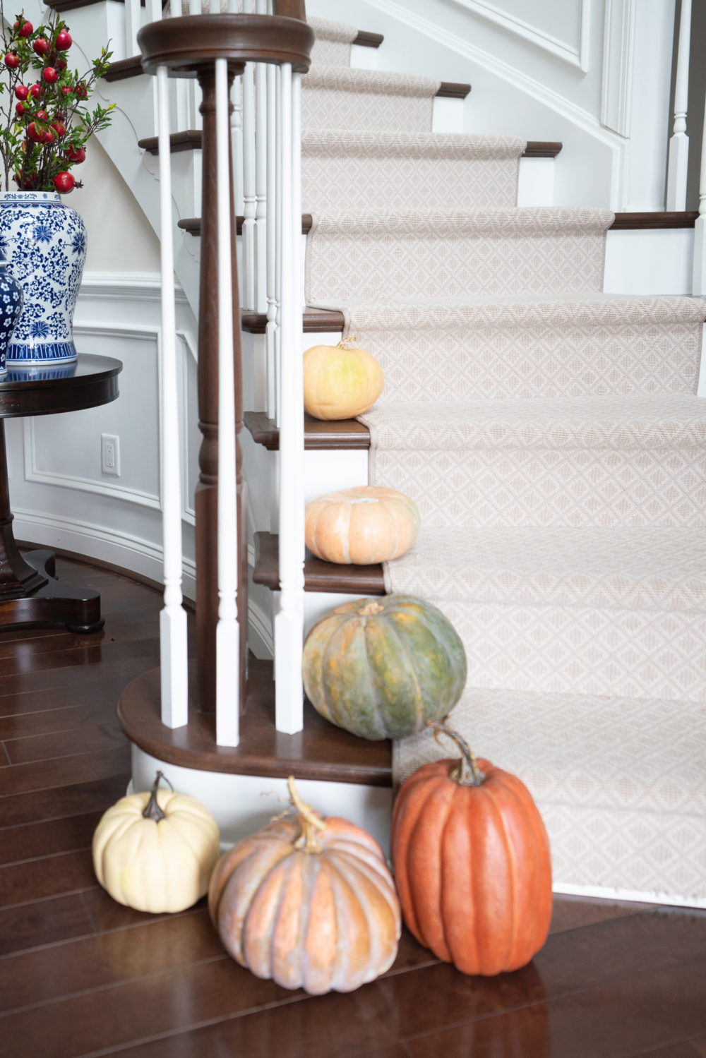 Petite Fashion Blog | Fall Home Decor Inspiration | Pumpkins on Stairs