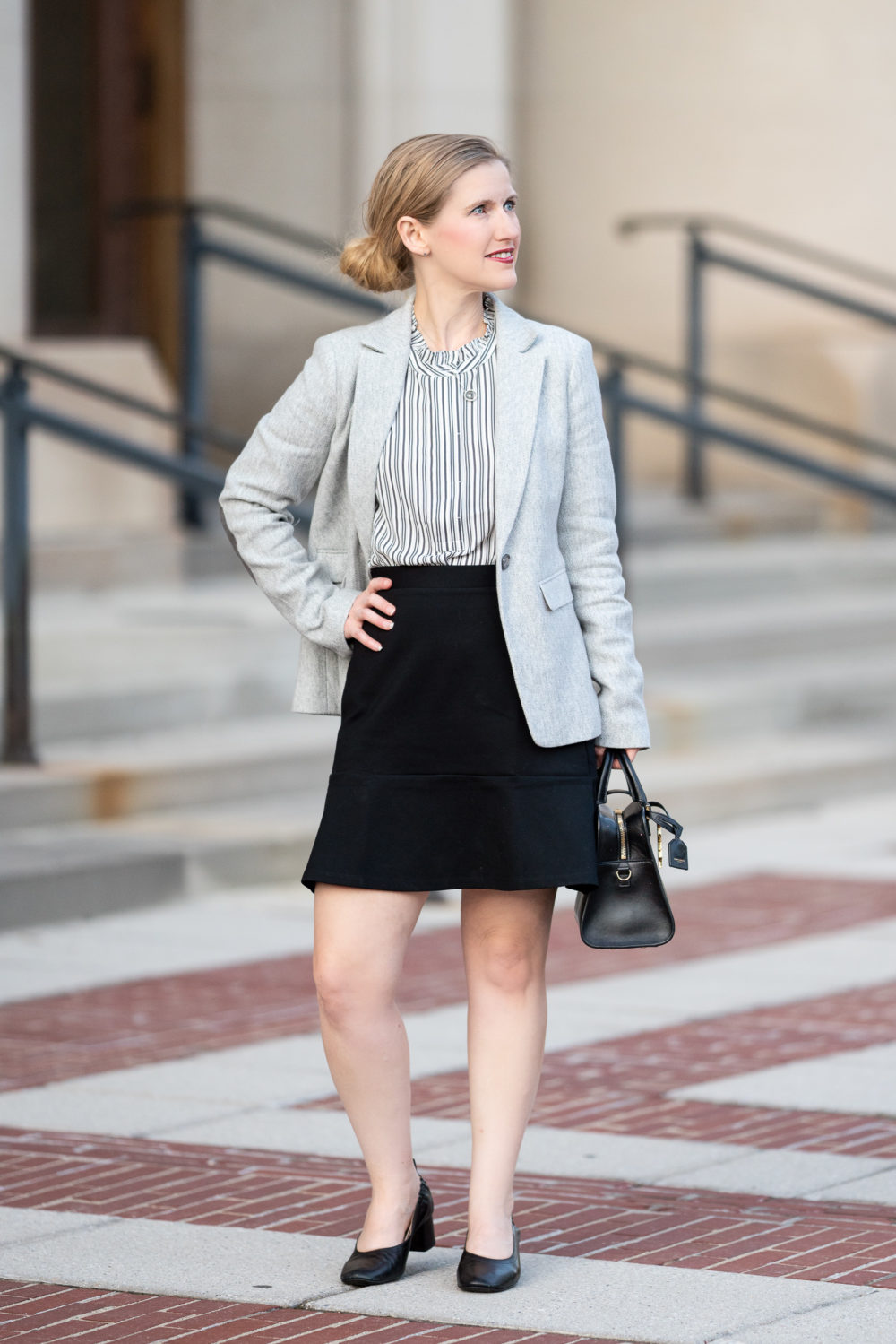 Petite Fashion Blog | Loft Herringbone Modern Blazer | Loft Flippy Skirt | Everlane Day Heel | Loft Sale