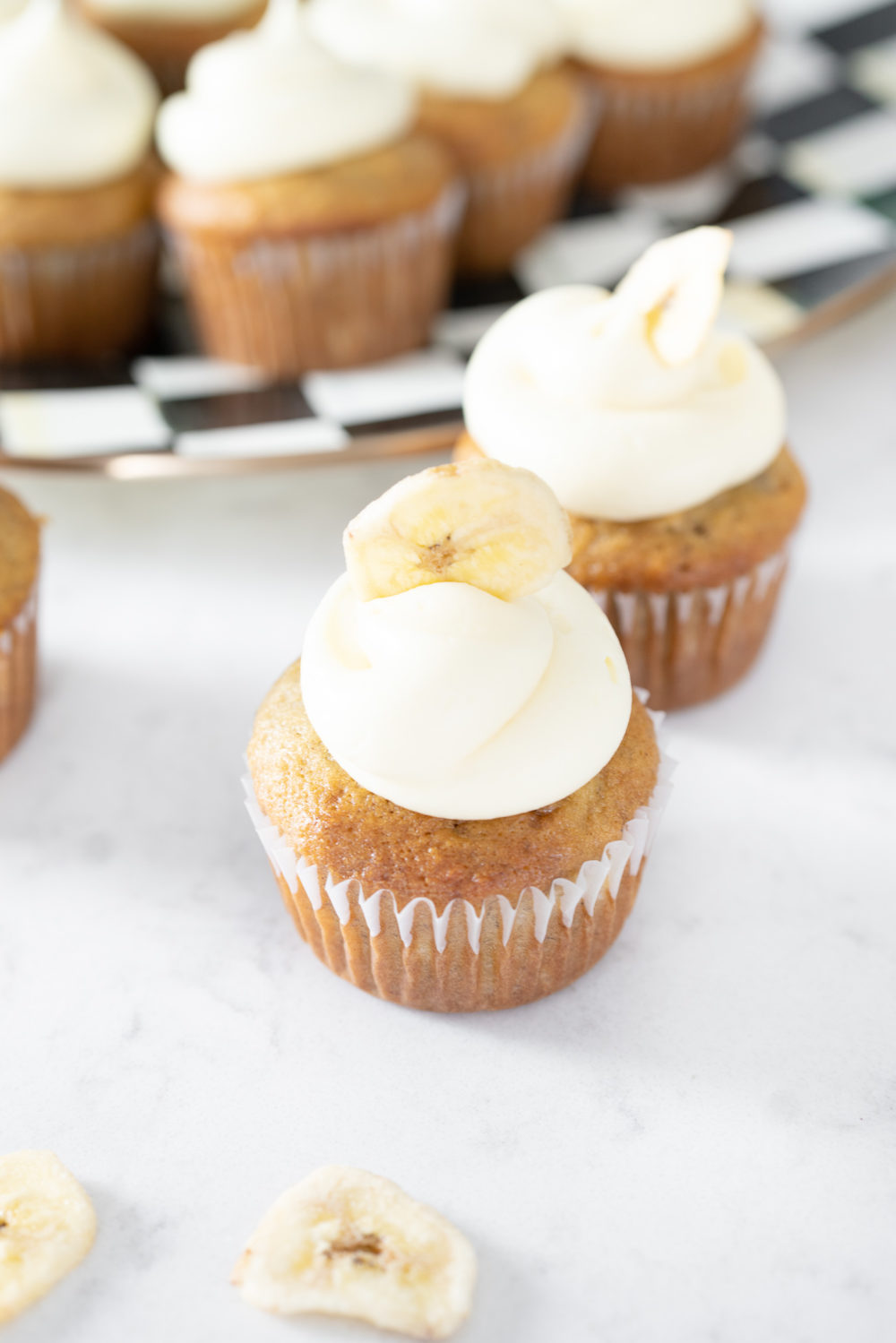 Petite Fashion Blog | Mackenzie Childs Royal Check | Banana Cupcakes with Cream Cheese Frosting