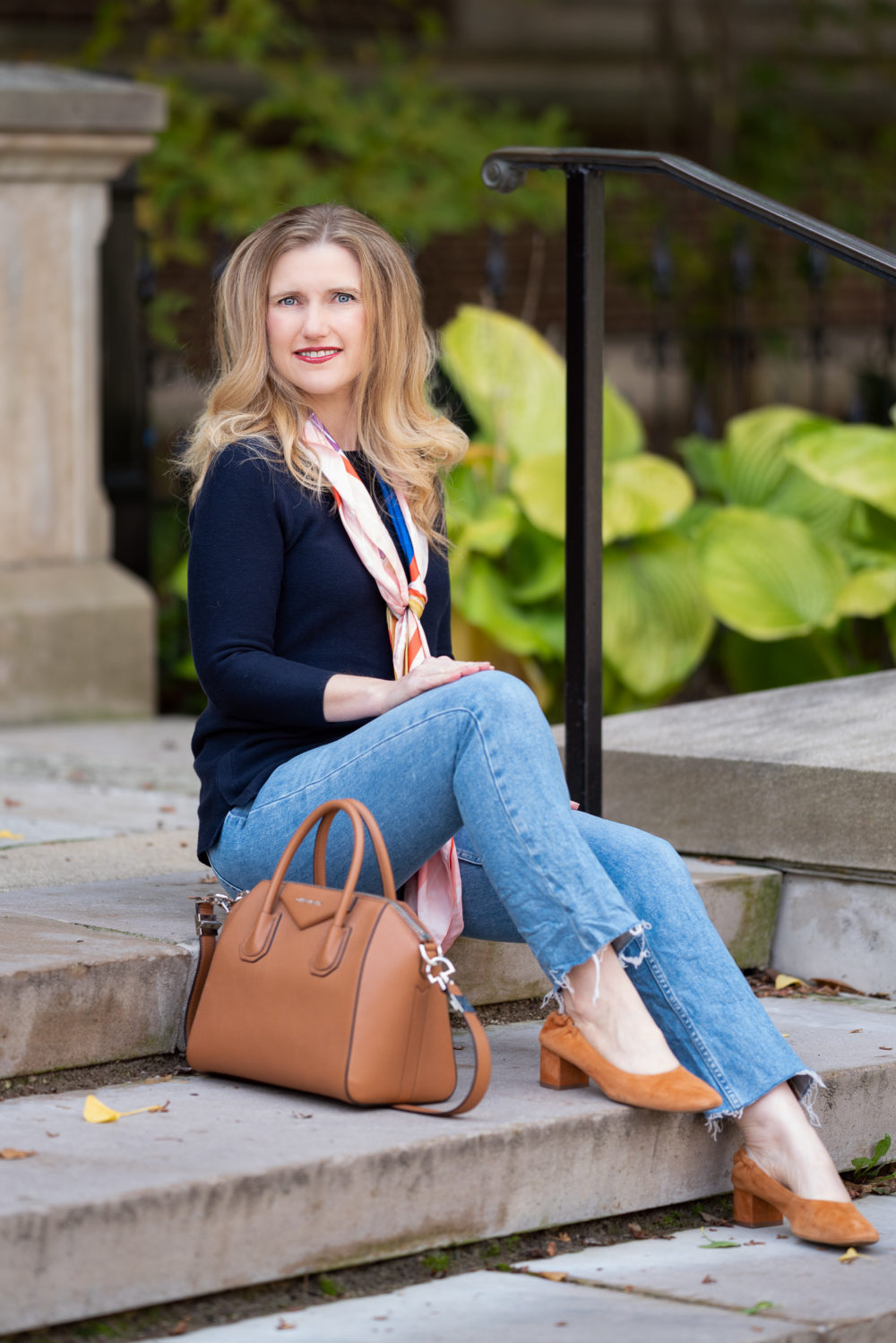 Petite Fashion Blog | Talbots Art of the Scarf | Breast Cancer Awareness Month | Everlane Kick Crop Jeans | Givenchy Antigona Bag