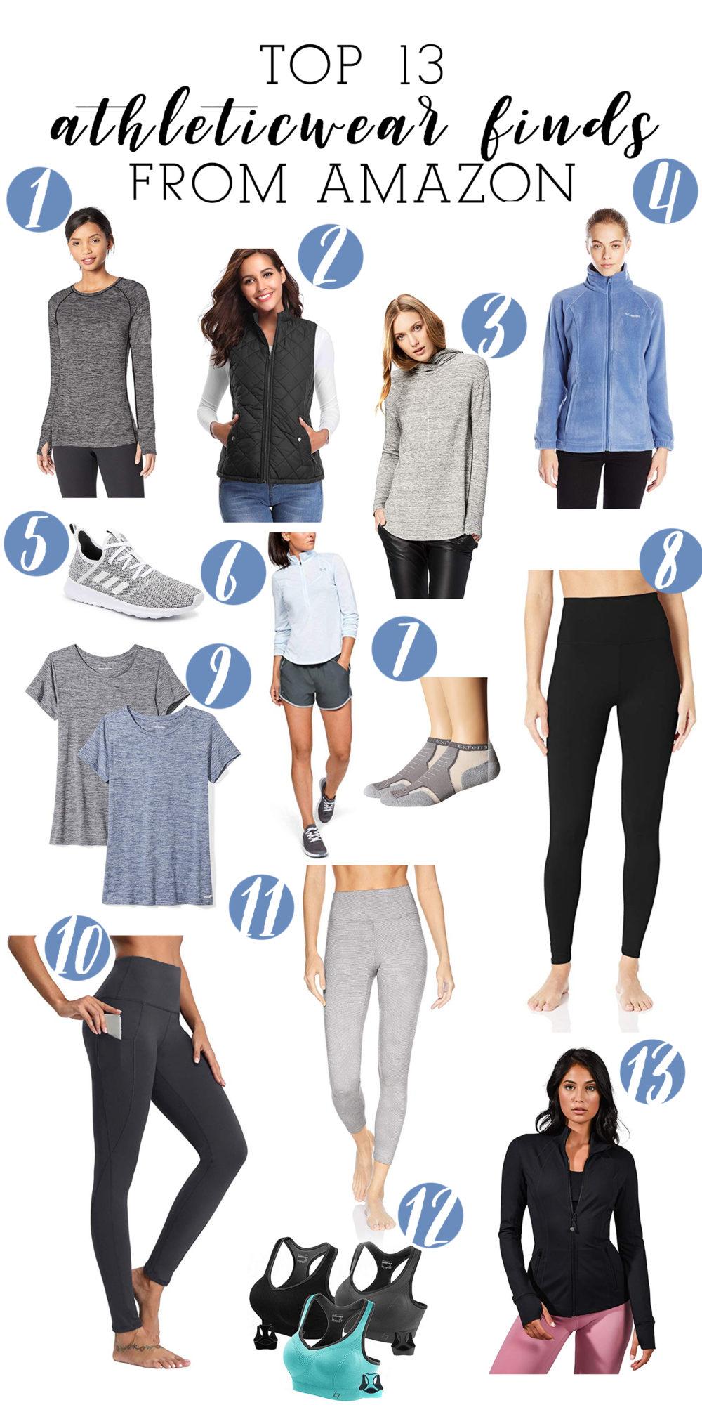 Petite Fashion Blog | Amazon Core 10 Leggings | Amazon Essentials Stripe Pullover | Amazon Women's Leggings | Puffer Vest | Black Nike Sneakers | Hydroflask