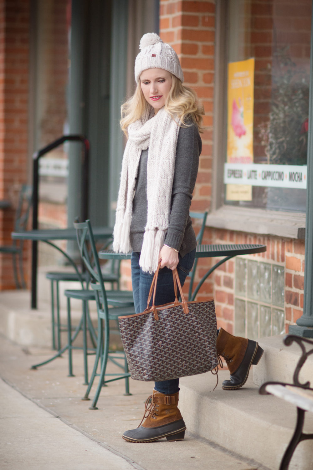 Petite Fashion Blog | Sorel Winter Fancy Boots | Goyard Tote