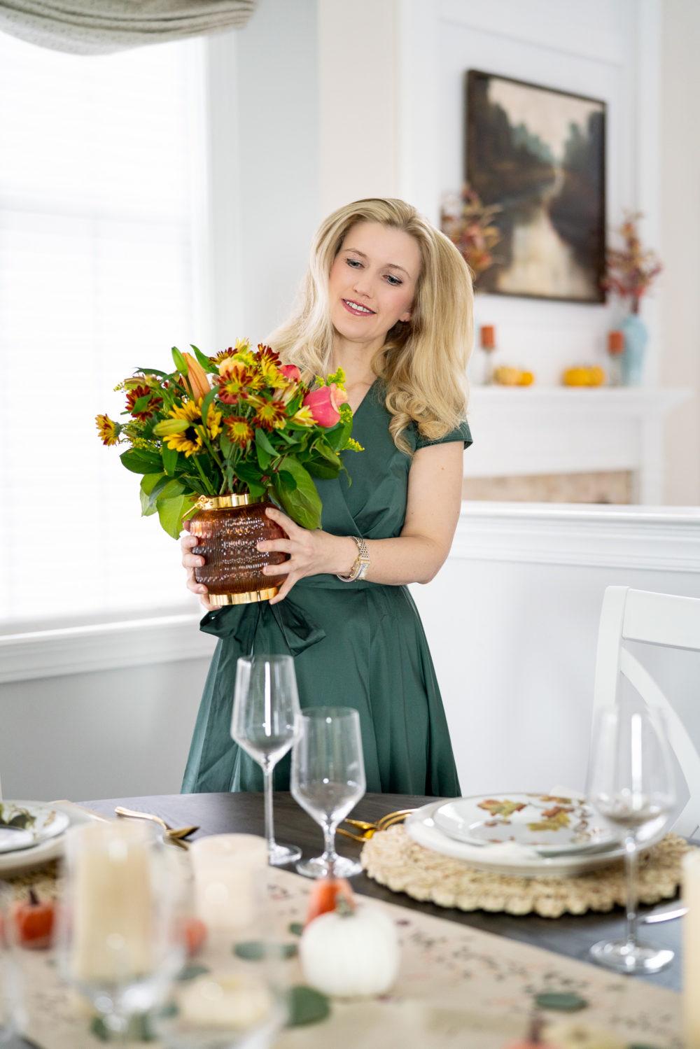 Petite Fashion Blog | Addison Cotton Tie Waist Fit & Flare Wrap Dress | FTD Flowers | FTD Thanksgiving Bouquet | Thanksgiving table decor | Thanksgiving tablescape | Pumpkin Pie recipe | Gal Meets Glam Dress
