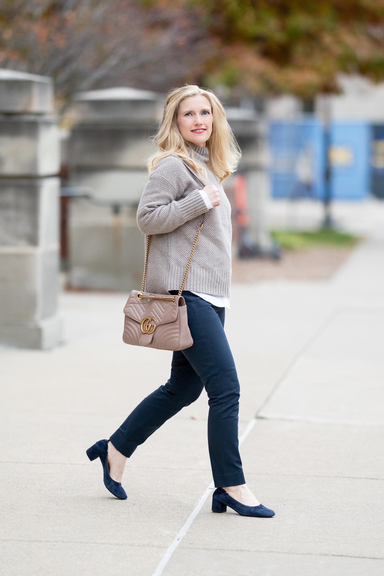 Petite Fashion Blog | Everlane ReCashmere Stroopwafel Turtleneck | Everlane Day Heel | Everlane Side Zip Work Pants