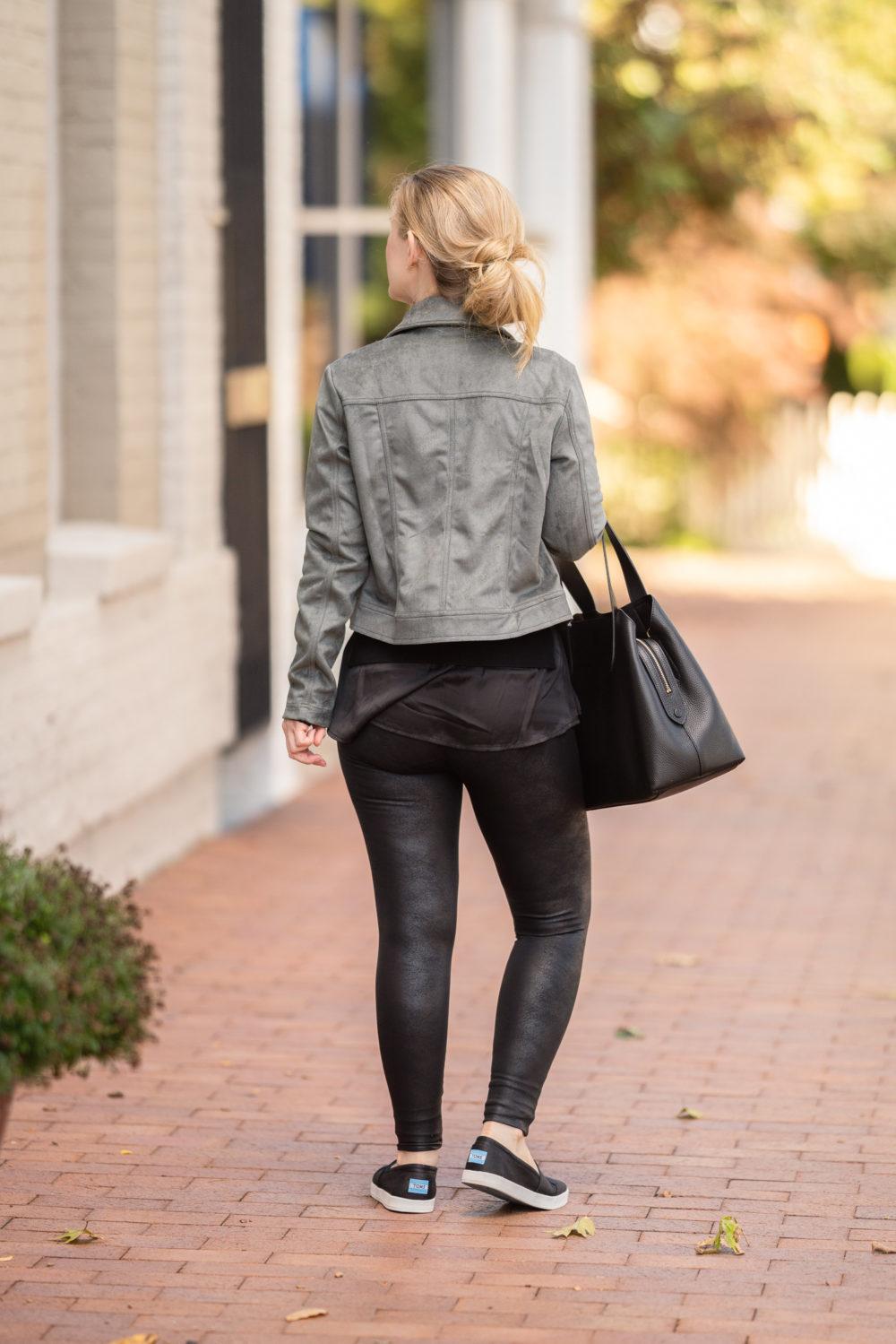 Petite Fashion Blog | Peach Fall Collection | Peach Moto Jacket | Cuyana Tote