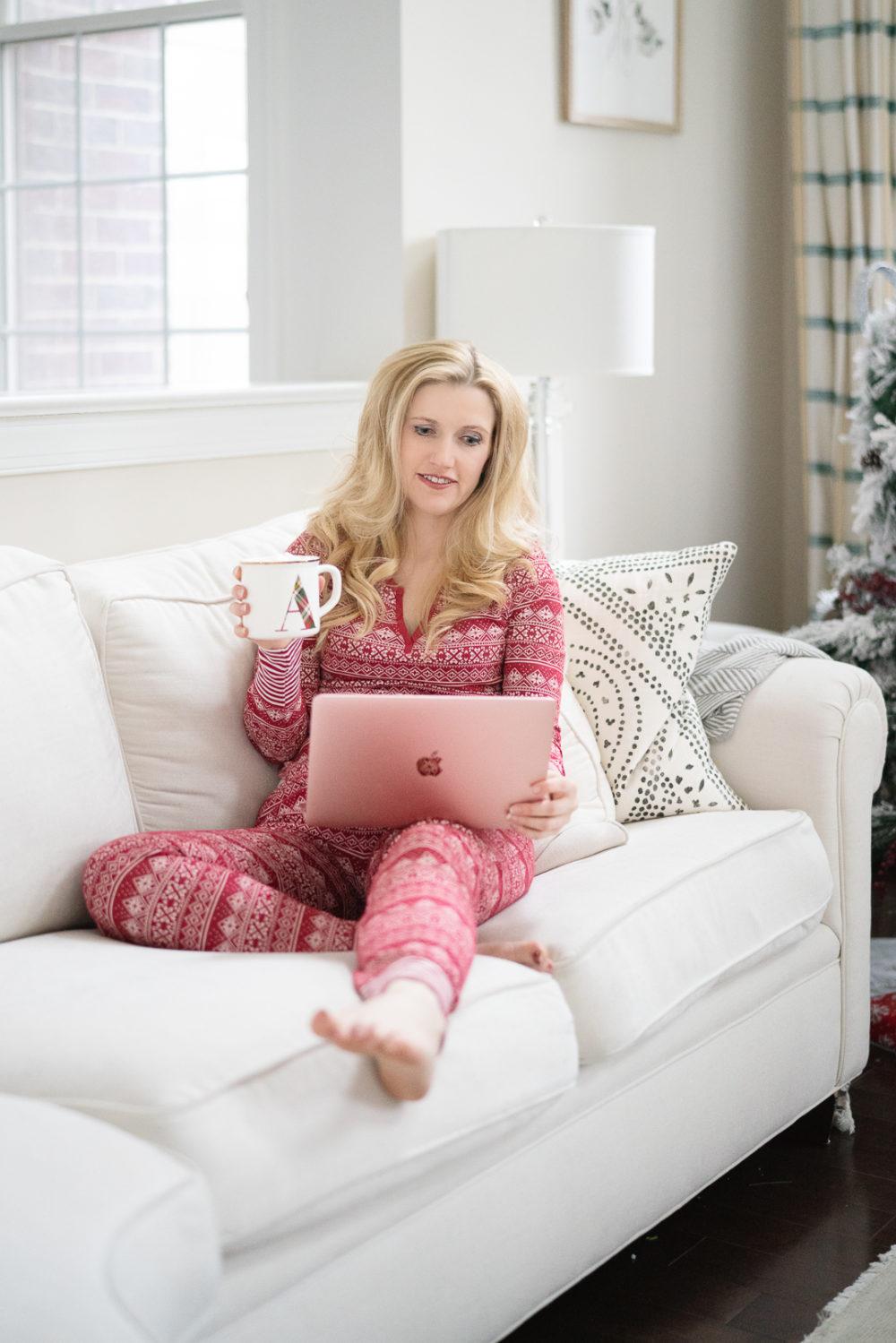 Petite Fashion Blog | Cyber Monday | Cyber Monday 2019 | Amazon Pajamas | Mae Pajamas | Monogram Mug | MacBook Air
