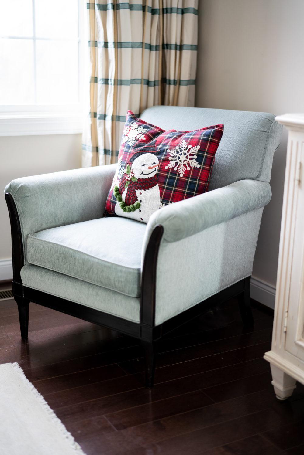 Petite Fashion Blog | Our Home for the Holidays | Christmas Decor | Flocked Christmas Tree | Christmas Pillows | Pottery Barn Pillows