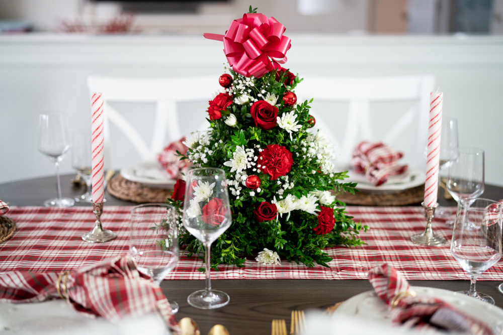 Petite Fashion Blog | Our Home for the Holidays | Christmas Decor | Flocked Christmas Tree | White Kitchen- | Juliska Berry and Thread | Juliska Holiday Dinnerware | FTD Flowers | Christmas Flowers