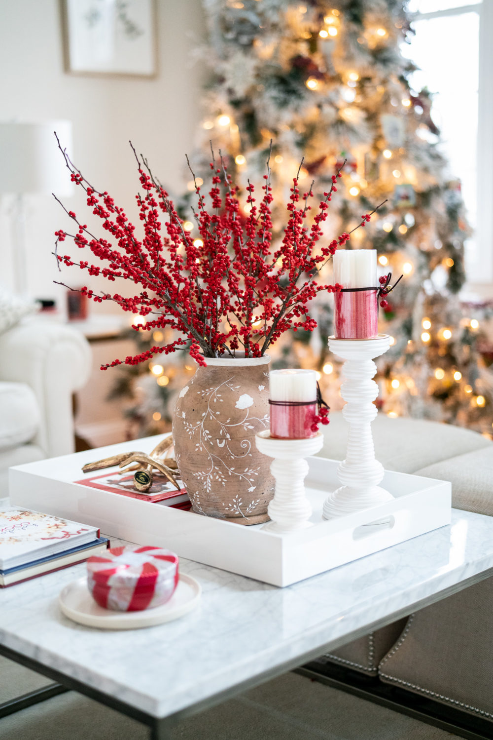 Petite Fashion Blog | Our Home for the Holidays | Christmas Decor | Flocked Christmas Tree | Christmas Pillows