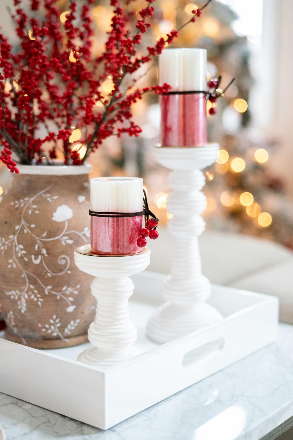 Petite Fashion Blog | Our Home for the Holidays | Christmas Decor | Flocked Christmas Tree | Christmas Pillows