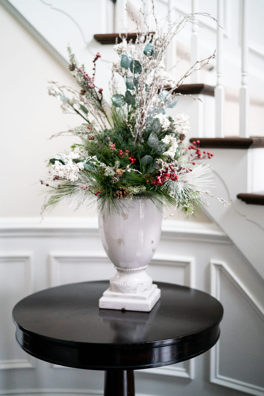 Petite Fashion Blog | Our Home for the Holidays | Christmas Decor | Flocked Christmas Tree |