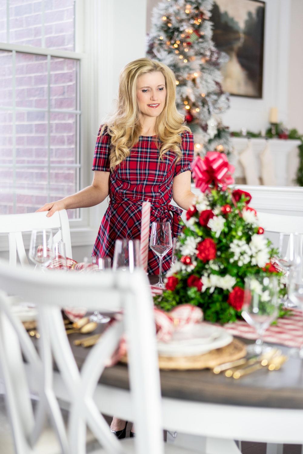 Petite Fashion Blog | Our Home for the Holidays | Christmas Decor | Flocked Christmas Tree | White Kitchen- | Juliska Berry and Thread | Juliska Holiday Dinnerware | FTD Flowers | Christmas Flowers