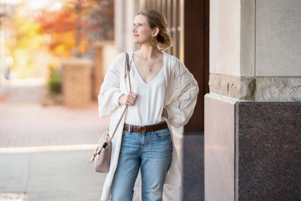 Petite Fashion Blog | Prettygarden Knit Long Cardigan | Fall Cardigan | J. Crew Slim Boyfriend Eco Jeans | Gucci Belt | Vince Camuto Booties