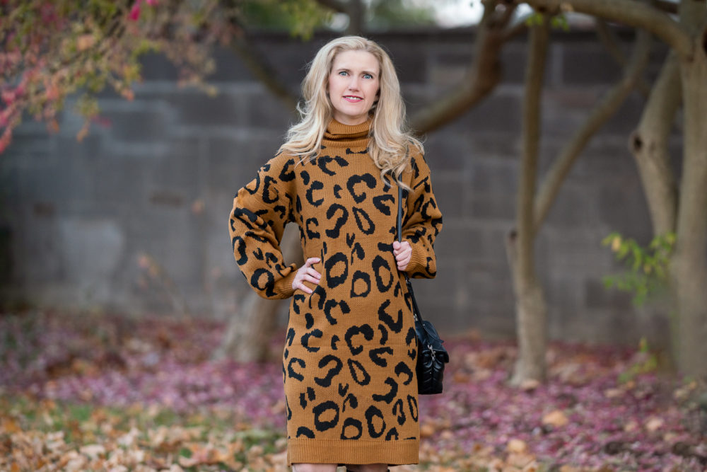 Petite Fashion Blog | Prettygarden Leopard Print Sweater Dress | Aquatalia Boots
