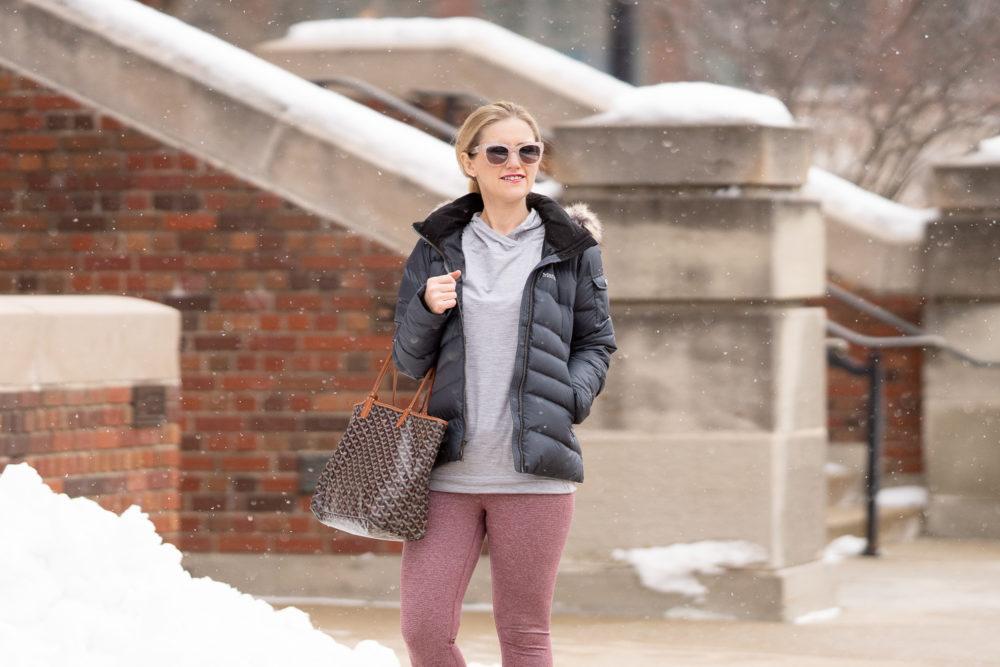 Petite Fashion Blog   Amazon Winter Workout Essentials   Core 10 Leggings   Marmot Women's Ithaca Down Puffer Jacket   Winter Workout Tips
