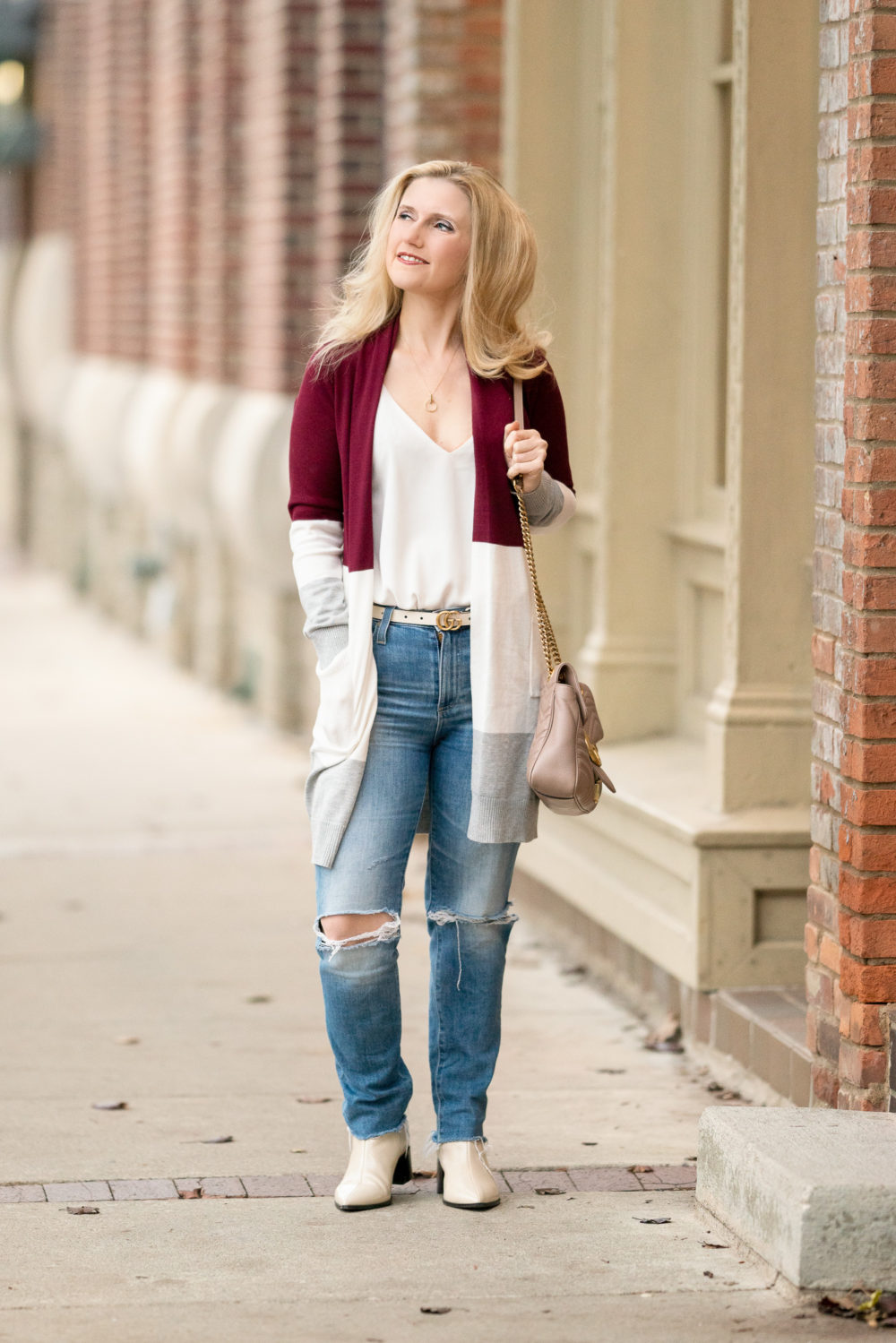 Petite Fashion Blog | Grace Karin Colorblock Cardigan | Gucci belt | Everlane Boots | AG jeans